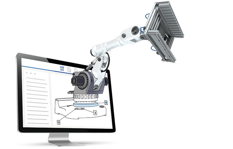 3D rendering of machine with icon overlay displayed in monitor
